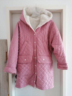 Płaszcz ze sztucznym futrem różowy-biały Tkanina z mieszanych włókien