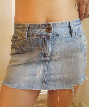 *NEU* Tally Weijl Mini Jeans Rock Fransen hellblau boho sexy sehr kurz 38 M
