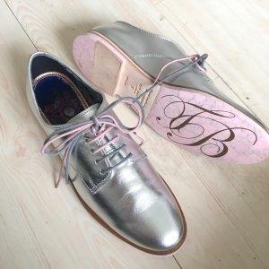 Neu Ted Baker London Schuhe Leder Silber metallic Loomi Lace Up Oxfords Halbschuhe Flach 38