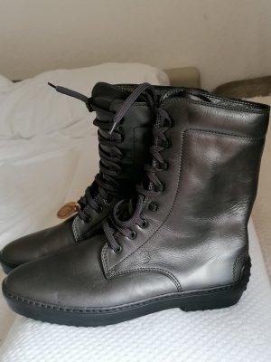 Neu Tods Stiefel Schnürboots Boots Biker Schnürstiefel Leder dunkle Grau  40,5