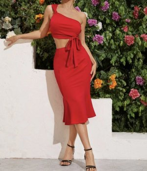 SheIn Cut out jurk rood