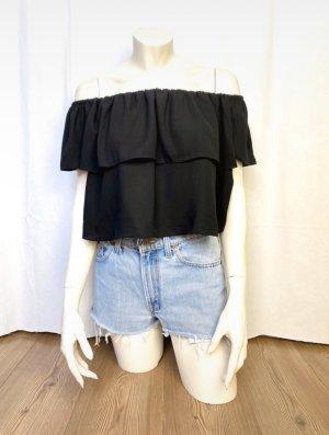 Neu! Topshop Off Shoulder Bluse Top Volants Schwarz Oversize Cropped