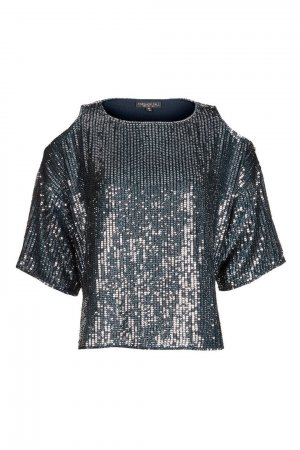 Topshop Off the shoulder top korenblauw-zilver