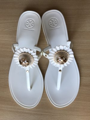 Tory Burch Zuecos blanco-color oro Poliuretano
