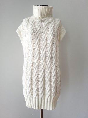 Drole de copine Długi sweter bez rękawów w kolorze białej wełny Poliakryl