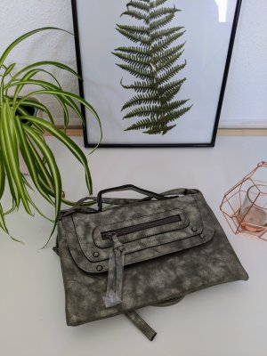Neu Trend Handtasche Metallic Silber Veganes Leder