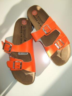 Sandalias cómodas naranja-naranja neón Cuero