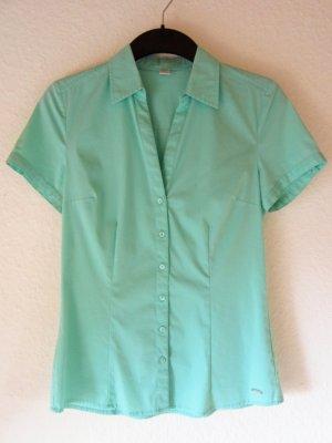 NEU: Türkisfarbene Kurzarm-Bluse mit tailliertem Schnitt
