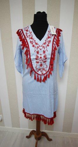 Sukienka tunika czerwony-jasnoniebieski