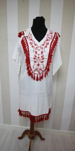 Abito a tunica bianco-rosso
