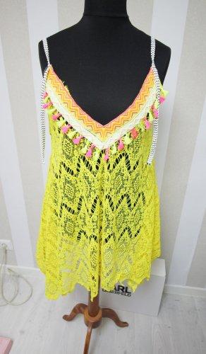 NEU Tunika Kleid Shirt Sommer Beach durchsichtig Fransen Hippie Festival