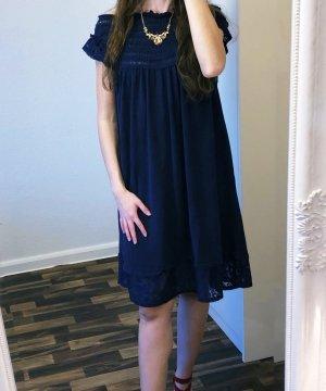 Neu Twin Set Kleid Strickkleid Midi Spitze Größe L blau Navy Blue Neu 217€ Damen