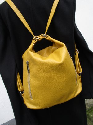 Made in Italy Sac à dos collège jaune foncé cuir