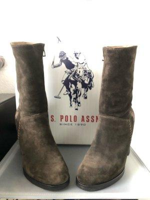 *neu* U.S. Polo Assn. Stiefel rauhes Leder braun Gr.38