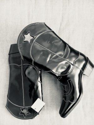 Ganni Western Boots black leather