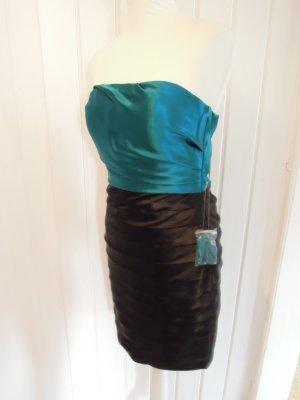 NEU und MIT perfekt passendem BOLERO: Cocktailkleid Abendkleid Kleid schwarz petrol mit Kurzarm Bolero Satin Gr. 36