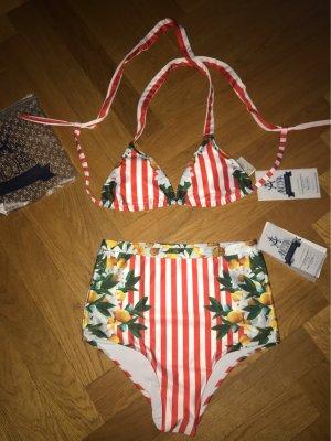 NEU & UNGETRAGEN - High-Waist Bikini TOSCANA, Größe S, herausragende Qualität, handgemacht
