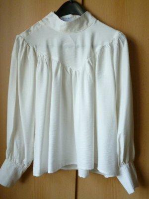 Loavies Blusa de cuello alto blanco puro Viscosa