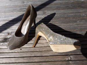 neu ungetragen Tamaris Pumps High Heels Glitzer Silber changierend beige Gold Größe 37