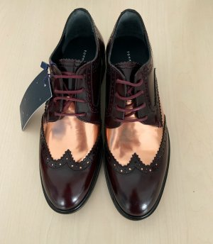 Tommy Hilfiger Wingtip Shoes bordeaux-gold-colored leather