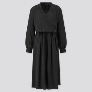 Uniqlo Robe portefeuille noir viscose