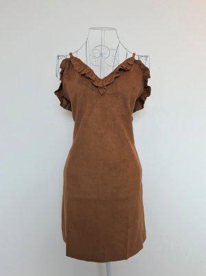 Vestito in pelle marrone-cognac