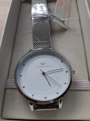 NEU Victoria Walls Damen Armbanduhr Milanaise silber weiß