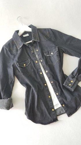 Neu! VILA Denim Bluse Jeans Hemd Nieten Gold XS-S