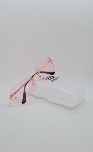 Kwadratowe okulary przeciwsłoneczne złoto-jasny różowy
