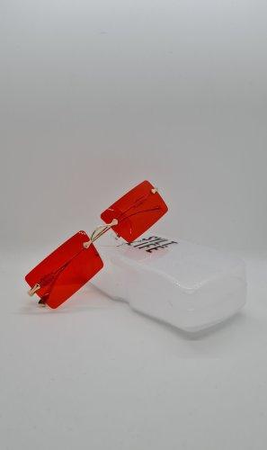 Kwadratowe okulary przeciwsłoneczne złoto-czerwony
