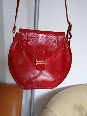 Neu Vintage Tasche Schultertasche Crossover Collection Werner Sinsel feines Lammnappa Echt Leder Rot NP 398.00