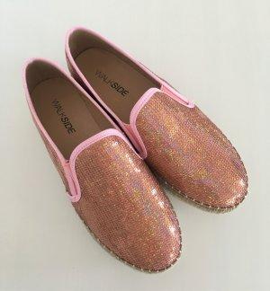 NEU Walkside Pailletten Espandrilles 38 Slipons Rosa Pastell Slipper Sneaker Ballerina Halbschuhe