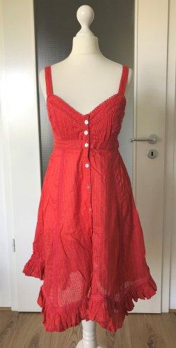 NEU Warehouse Midi Sommer Kleid XS 34 UK6 Koralle Rot Rüschen Trägerkleid Gürtel