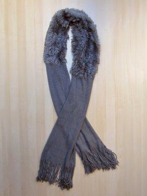 NEU: Weicher, grauer Schal mit Felleinsatz