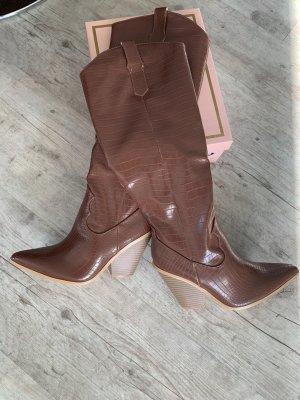 Botas estilo vaquero marrón-coñac