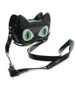 NEU witzige kleine Tasche Cat, Katze mit langen Gurt, schwarz, Lack