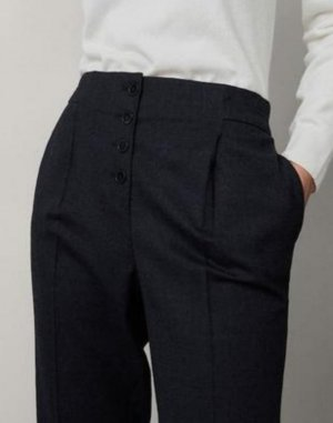 Massimo Dutti Woolen Trousers black-anthracite wool