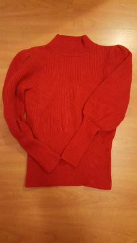 Neu! Wollpullover / Kaschmirpullover mit Puffärmeln von HALLHUBER in rot / S / 36