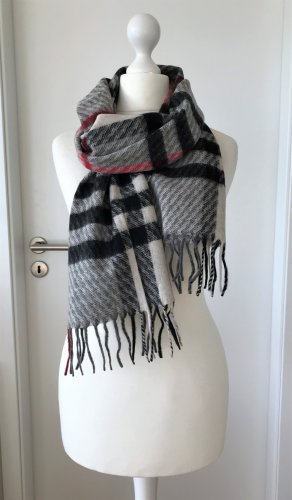 NEU Wollschal Winter Schal Wolle Blanket Scarf Glencheck Karo Muster Plaid Grau