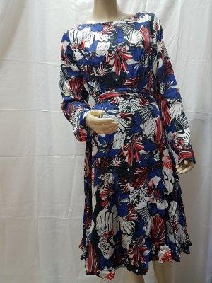 Kleid Maxi Kleid Heine braun blau Blumen Muster Chiffon Gr 40