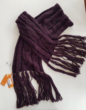 Boss Orange Sjaal met franjes braambesrood
