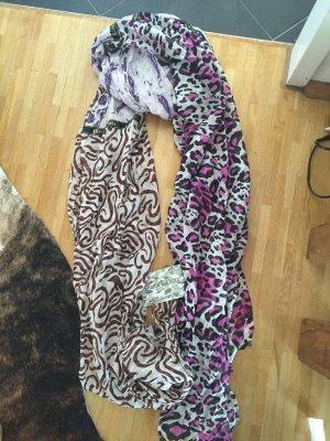 Plomo o plata Bufanda de seda blanco-púrpura Seda