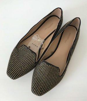 NEU Zara Ballerina 38 Nieten Schwarz Loafers Halbschuhe Studded Slipper Flats