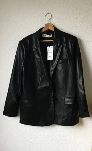 Zara Leather Blazer black polyester