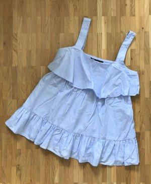 NEU Zara Bluse XS 34 Rüschen Tunika Peplum Shirt Sommer Volant LongTop Oberteil