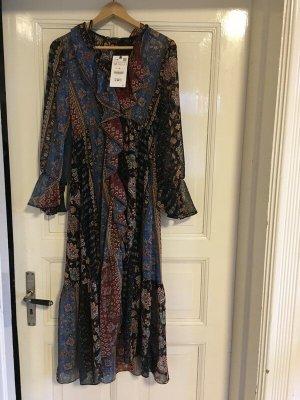 Neu Zara Boho Ethno Hippie Kleid Midi langärmelig Rüschen Volants Patchwork  Herbst Gr. m 38 Influencer