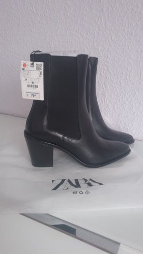Neu ZARA Cowboy Boots Echtleder schwarz 39