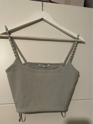 Zara Cropped top leigrijs-lichtblauw