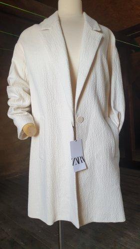 Zara Kurtka oversize w kolorze białej wełny-jasnobeżowy