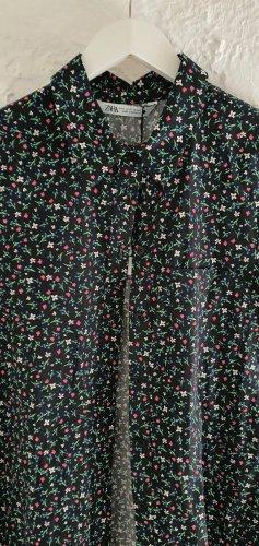 NEU Zara Kleid Blumen Floral Muster bunt dunkelblau S